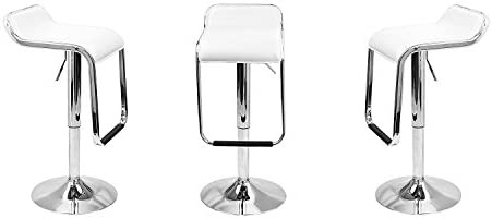 MagshionSet of 2 Square Seat Design Swivel Bar Stool Chair Counter Kitchen White