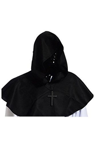 Gambit Costume Cosplay (YMING Vintage Medieval Cowl Hat Halloween Hooded Wicca Pagan Cosplay Accessory Unisex (Black))