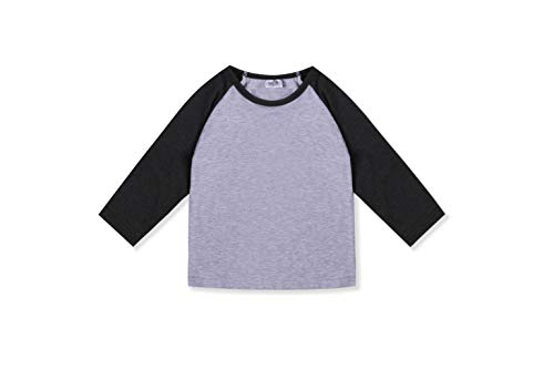 (CloudCreator Toddler Baby Girls Boys Long Sleeve Shirts Raglan Shirt Baseball Tee Cotton T-Shirt (Grey&Deep Grey, 3 Years))