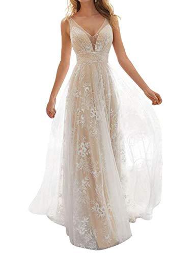 Women's Wedding Dress for Bride Lace Applique Evening Dress V Neck Straps Ball Gowns (Medium) White