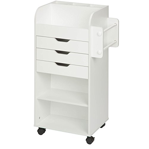 Honey-Can-Do CRT-06346 Rolling Craft Storage Cart with 3-Drawers, White, 19.13L x 33.62H, 19.13