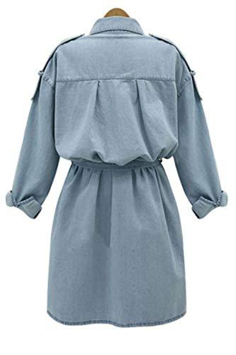 Chiarocolor Donne Vestiti Swing Casual Corsetto Solido Denim Zamtapary Blu Camicia zwtqSxd44