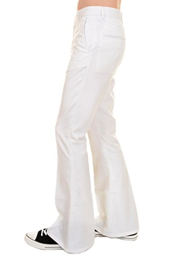 Run & Fly Mens 60s 70s Presley Vintage White Cotton Twill Bell Bottom Trousers 30 Short