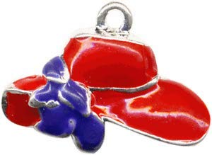 Pendant Jewelry Making Red Wide Brim Hat with Purple Bow 22mm Silver Plated Traditional Charm 1 - Red Hat Jewellery