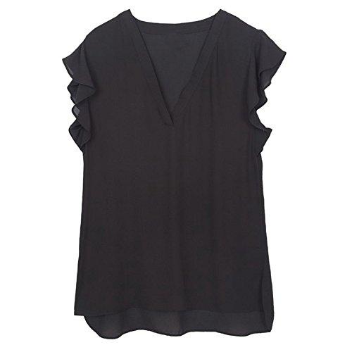maleasanh-women-summer-solid-v-neck-chiffon-blouses-ruffles-short-sleeve-shirts-casual-tops-black-xl