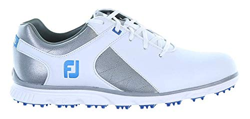 FootJoy Men's Pro SL Spikeless Plain Toe Rover Whte/Grey/Light Blue Trim 9.5 M US from FootJoy
