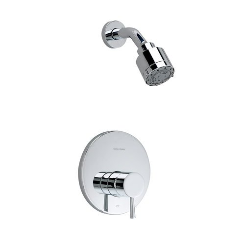 American Standard T064501.002 Serin Shower Only Trim Kit with 3 Function Adjustable Showerhead and Brass Escutcheon, Polished Chrome - Three Handle Kit Polished Brass