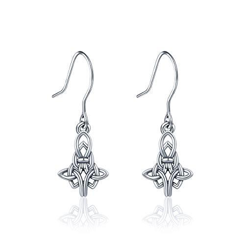 INFUSEU Sterling Silver Cross-shaped Celtic Infinity Eternity Knot Drop Dangle Hook Earrings for -