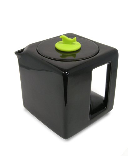 Make My Day Tea Cube Ceramic Teapot with Infuser, Black with Lime Green Accent