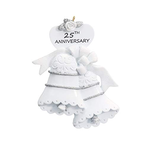 - Personalized 25th Anniversary Christmas Tree Ornament 2019 - Silver Glitter White Bells Year Twenty-Fifth Celebration Just Gift Together Romantic Tradition Wedding Dated Engraved - Free Customization