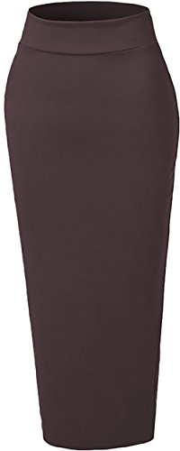 Ababalaya Women's Muslim Elastic Waist Ankle Length Pencil Bodycon Thicken Knited Skirt,Coffee,XL-XXL