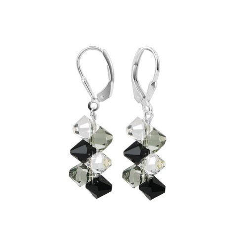 Gem Avenue Sterling Silver Black and Clear Crystal Handmade Dangle Earrings Made with Swarovski Elements