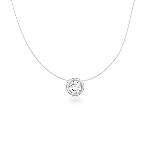 Sterling Silver Round Cut CZ White Pink Cubic Zirconia Bezel Set Solitaire Pendant Necklace