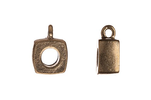 puff square antique copper-plated slide-tube bail 10x13mm sold per 10pcs per pack