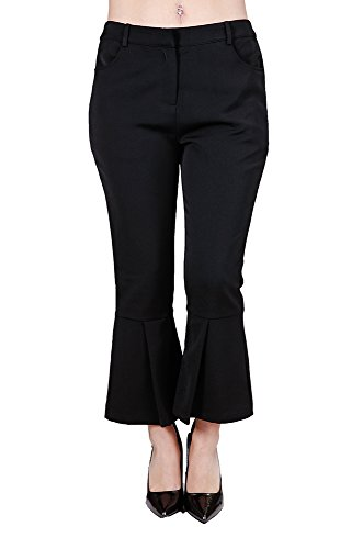 Off-Fashion Apparel Women's Classic Business Dress Pant Cropped Pleated Flair Trousers, (Ladies Plus Pleated Dress Pants)