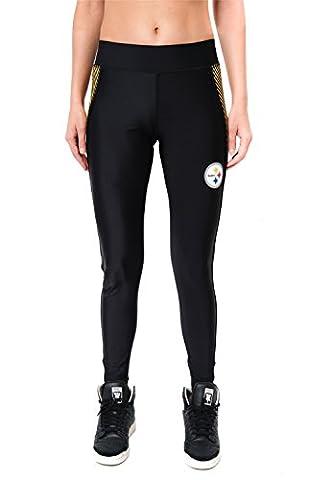 NFL Pittsburgh Steelers Women's Fitness Workout Running Yoga Pants Leggings, Black, Large - Pittsburgh Steelers Logo Nylon