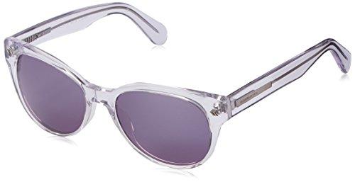 BCBGMaxazria Women's BCB878CLE5318 Round Sunglasses, Clear/Silver Flash Mirror Coating, 53 - Bcbgmaxazria Sunglasses
