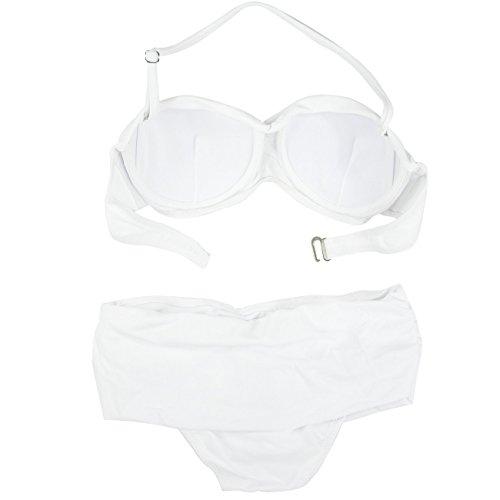 ddbf5f4a3e Amazon.com  Jamesoark Sexy Women s Pure Twist Bandeau Bikini Set Tiered  Swimwear  Clothing