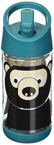3 Sprouts Water Bottle Kids Small Spill Proof 12oz. Plastic Spout Water Bottle, Teal, Bear