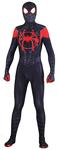 RellCos Unisex Lycra Spandex Halloween New into The Spider Verse Miles Morales Cosplay Costumes Kids 3D Style, XS -