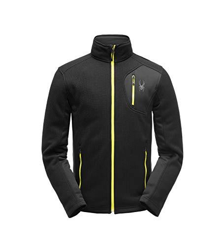 Spyder Men's Bandit Full Zip Stryke Jacket, Black/Black/Acid, - Microfiber Zip Jacket