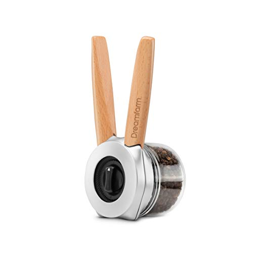 Dreamfarm Ortwo-One-Handed Salt, Pepper Spice Mill Grinder, 4oz, Wood