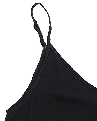 ZANZEA V Mangas Playa Suelto Largo Mujeres Negro Verano Casual Sin Cuello Punto Elegante Vestido fxRrgfqZw