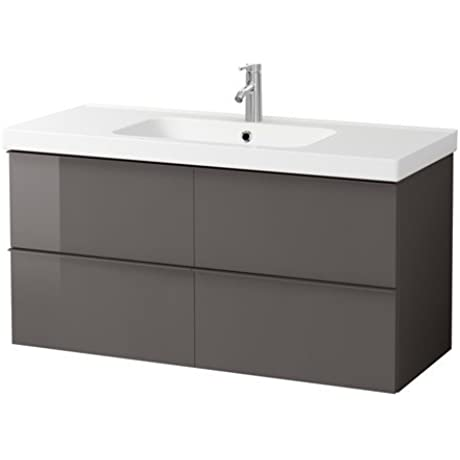 Ikea Sink Cabinet With 2 Drawers High Gloss Gray 47 1 4x19 1 4x25 1 4