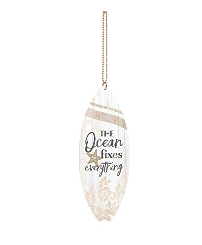 Graham Dunn Ocean Fixes Everything Whitewash Surfboard 1.5 x 4.5 Wood Hanging Car Charm P Graham Dunn P