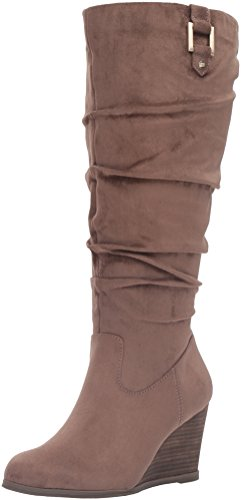 Dr. Scholl's Shoes Women's Poe Wide Calf Slouch Boot, Stucco Microsuede, 9 M US