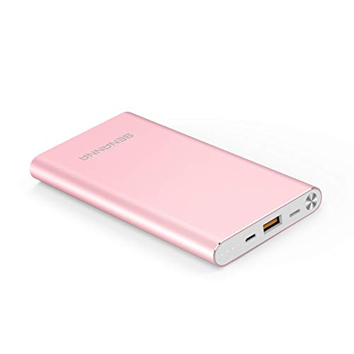 Portable Charger 10000mAh Power Bank External Battery Backup Pack BENANNA Slim Compatible iPhone X XS XR Max 8 7 6 5 Plus iPad Android Cell Phone Galaxy Note LG Gopro - Rose Gold Pink