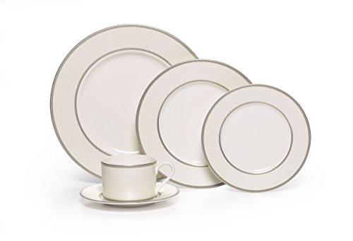 Mikasa Palazzo 5-Piece Porcelain Place Setting, Service for 1 European White Souffle