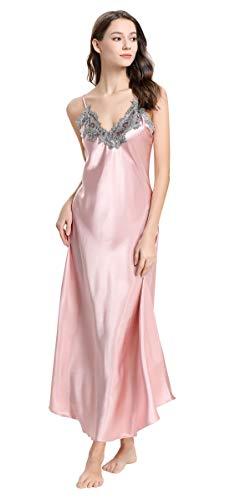 (Girls Full Length Chemise Sleepwear Women Silk-Like Full Slip Night Dress Female Sexy Lace Satin Long Nightgowns Size L Pink)