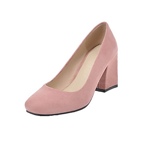 WeenFashion Heels On Shoes Pink Closed Frosted Kitten Women's Toe Pumps Pointed Solid Pull rWqawPrn8Z