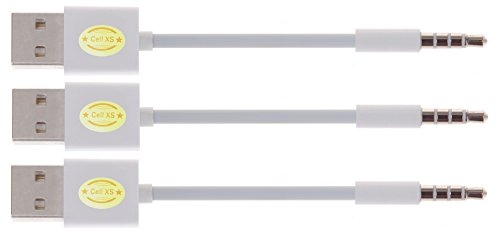 TOP Quality USB Charger SYNC Data Cable for Apple iPod Shuffle 3rd 4th 5th Generation-3PCS (white.white.white)
