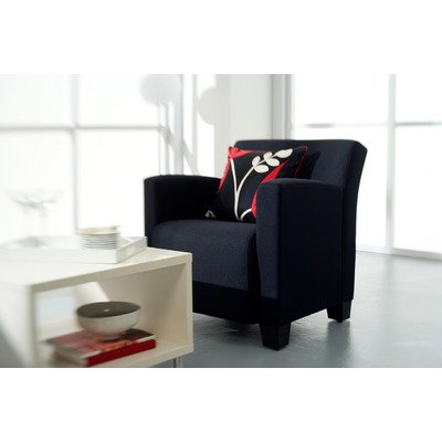 Steelcase Jenny Upholstered Lounge Chair Fabric Color: Buzz2 - Navy, Leg Finish: Solid Maple Wood - Natural Cherry