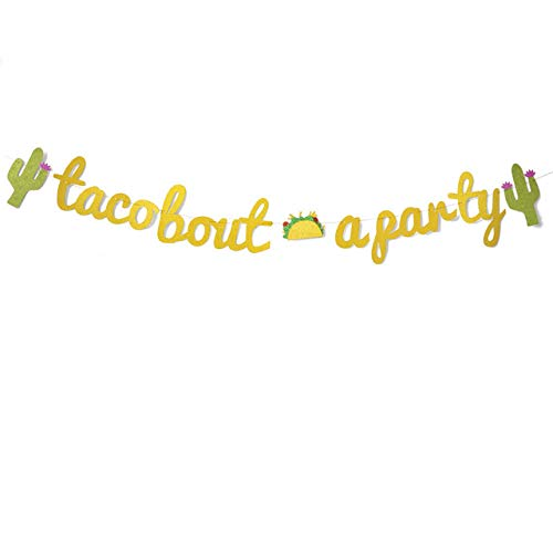 (iMagitek Gold Gitter Taco Bout a Party Banner Sign Garland for Mexican Fiesta Themed Birthday Bridal Shower Bachelorette Party Wedding Decorations)