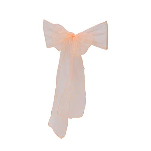 Hohaski Solid Color Flower Chair Back Band Covers, Organza Chair Sashes Bow Sash for Wedding and Events Supplies Party Decoration Chair Cover Sash (Beige)