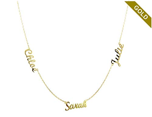 - 14k Solid Gold 3 Names Necklace - Personalized Gold Stacked 3 Names Necklace - Gold Name Necklace - Multiple Name Necklace - Triple Gold Name Necklace