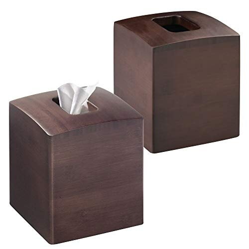 mDesign Square Bamboo Wood Facial Tissue Paper Box Cover Holder for Bathroom Vanity Counter Tops, Bedroom Dressers, Night Stands, Home Office Desks, Tables - 2 Pack - Espresso Brown ()