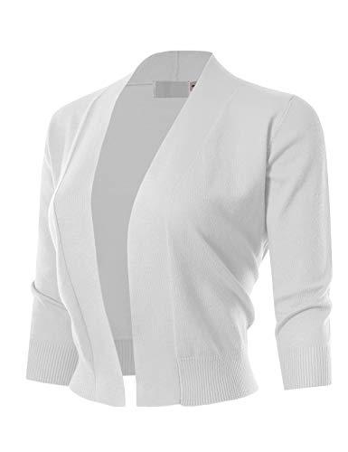 MAYSIX APPAREL Womens 3/4 Sleeve Solid Open Bolero Cropped Cardigan WHITE L ()