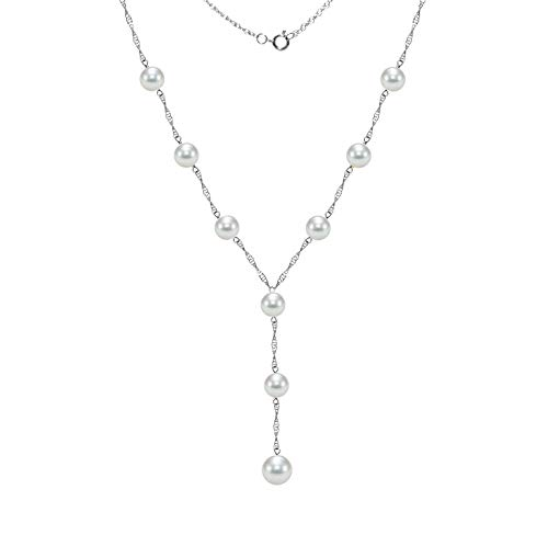 14k White Gold Lariat Tin Cup Station Necklace Saltwater White Akoya Cultured Pearl 6.5-7mm and 8-8.5mm, 18