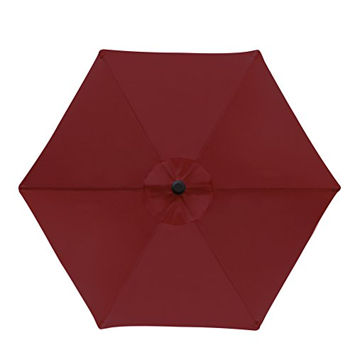 Blissun 7.5 ft Patio Umbrella, Yard Umbrella Push Button Tilt Crank(Red) by Blissun (Image #2)