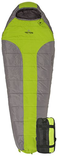 TETON Sports Tracker Ultralight Mummy Sleeping Bag; Lightweight Backpacking Sleeping Bag for Hiking and Camping Outdoors; All Season Mummy Bag; Sleep Comfortably Anywhere; Green/Grey ()