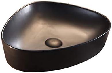 BoPin バスルームの洗面台、カウンタ上記マットセラミックバニティホームホテルシンク技術(タップ無し)単一流域、利用可能な2色 ベッセルシンクシンク (Color : Black)