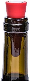 Tapones de Vino,Silicona Tapones para Botellas Colores 5 Pack Reutilizables Tapones de Silicona con Tornillo para Preservar Cerveza Champaña Bebida Alcohol