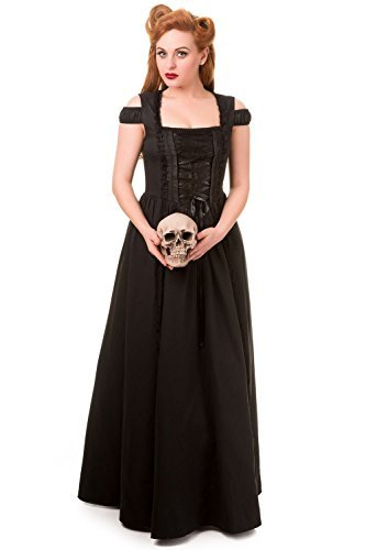 Banned Apparel Daysleeper Maxi Steampunk Corset Style Gothique Victorien Robe