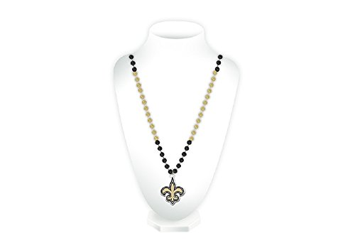 Rico Industries NFL New Orleans Saints NecklaceNecklace Beads with Medallion Mardi Gras Style, Team Colors, One Size