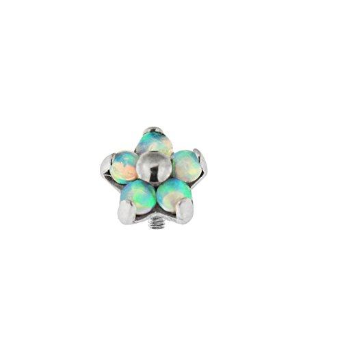 5 Light Blue Opal Stones Flower G23 Grade Titanium Top Dermal Anchor (Opal Five Light)