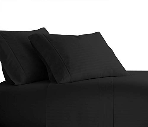 Sheetsnthings 100% Cotton Bed Sheet Set, 300 Thread Count - Queen, Black Stripes - Deep Pocket, 4PC Sheets